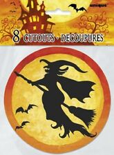 "HALLOWEEN ""Spooky Hollow"" Mini Decorations 8 CUTOUTS WITCHES BATS 12cm new"
