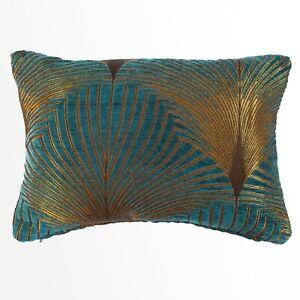 Art Deco Fan Boudoir Rectangle Cushion. Luxury Velvet Chenille. Gold & Teal Blue