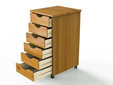6 Drawer Rolling Cart, Medium Pine Solid Wood - Adeptus