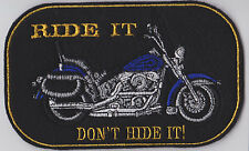 LARGE CRUISER STYLE BIKER PATCH CAN HAVE CUSTOM COLOUR AND TEXT SEW ON