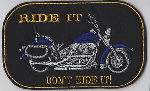 LARGE CRUISER STYLE BIKER PATCH CUSTOM COLOUR & TEXT SEW ON
