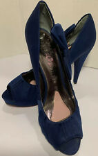 Paris Hilton~Size 8~Blue Satin~VLV~Peep Toe~Stiletto Heel~Pumps~Lg Side Bows