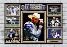 More details for dak prescott dallas cowboys nfl autograph poster print signed #174