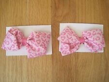 Twin girls PINK LEOPARD Hair bows clips barrettes NWT 2T 3T 4T 4 5T 5