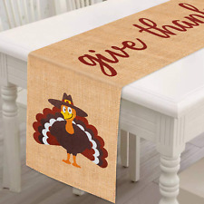 Mosoan Burlap Thanksgiving Table Runner - 13 x 72 Inches Thanksgiving Table Deco