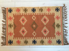 Small Kilim Rug Wool Jute Indian 60x90cm 2x3' Kelim Orange Handmade Style Morocc
