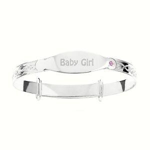 "Solid Silver Engraved ""Baby Girl"" Christening Bracelet Bangle 925"