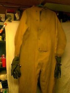 VINTAGE RARE USN OVER BOARD  DRYSUIT WITH ATTACHED RUBBER GLOVES & BOOTS