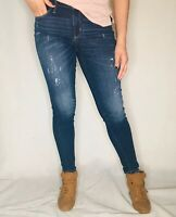 Women's Skinny Jeans Distressed Stretch Mid Rise Dark Wash UNIVERSAL THREAD SZ 4