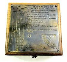 Antique Brass Marine Master Box & Nautical Compass Telescope Magnifying Glass