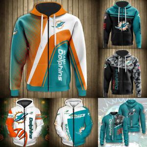 Miami Dolphins Hoodies Full Zip Hooded Sweatshirts Men's Casual Jacket Fans Coat