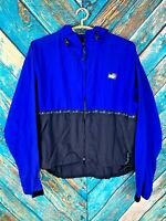 REI Men's Vintage Hooded Zip Up Nylon Blue Black Windbreaker Jacket
