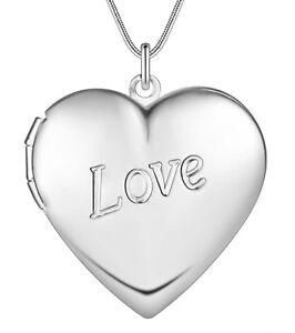 Herz Medaillon Anhänger mit 45cm Halskette Gravur Öffnen 925 Silber Plattiert 53