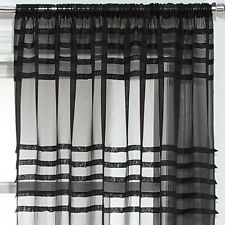 """Assorted Embroidered Voile Slot Top Panels Pairs Multi Colours & Patterns Pleated Black 59x48"""" 150x122cm"""