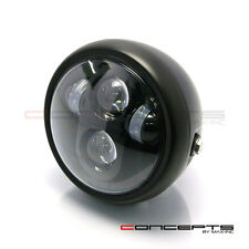 "Universal Motorbike 6"" Matt Black LED Headlight Triumph Bonneville Thruxton"