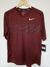 Nike Men'S Size L Miler Short Sleeve Running Top Wine 856880 619