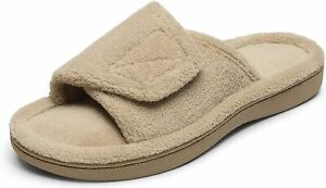 Women House Memory Form Fuzzy Slippers Open Toe Slide Sandals With Arch Support