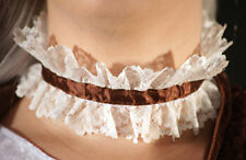 HALLOWEEN-GOTHIC-VAMPIRE-STEAMPUNK High neck lace collar ruff with Brown ribbon