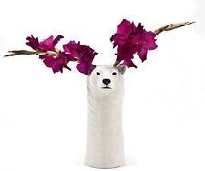 More details for quail ceramics polar bear flower vase 26cm tall white home animal pottery