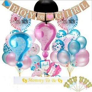 """Gender Reveal Boy Girl Pink Blue 36"""" Black Balloon Pink Blue Confetti Party Pack"""