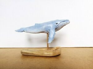 Humpback whale sculpture mounted on driftwood. Resin cast. hand painted. Unique.