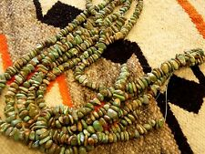 """16"""" Long SINGLE Strand of Small Blue-Green w/ Brown NATURAL Turquoise Beads #8"""