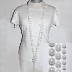 Perlen XXL Ketten * 3er SET * CHARLESTON * Karneval 20ies Gatsby weiss perlweiß