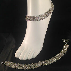 Silver anklet payal chanjar pair foot chain diamante feet jewellery prom party