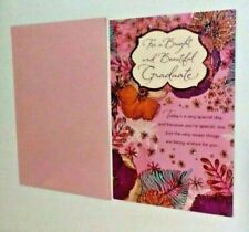 American Greetings Glitter Floral Embossed Graduation Card Pink Envelope Women