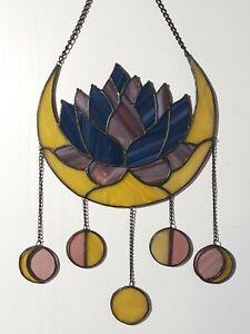"Crescent Moon Lotus Stained Glass Suncatcher 8""x7"" Dreamcatcher Blue Yellow"