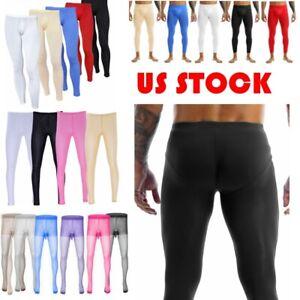 US Sexy Mens Sheer Thin Ice Silk Compression Long Johns Tights Pants Underwear