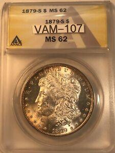 1879 S Vam 107 Morgan Silver Dollar $1 Anacs Ms62 toned!