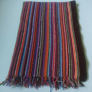 """Knit Blanket/Throw/Rug Multicolor With Tassels 66"""" by 43"""" Nice Condition"""