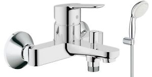 GROHE Bauedge Bath Shower Mixer Tap Single Lever Wall Mounted - Hand Shower Kit