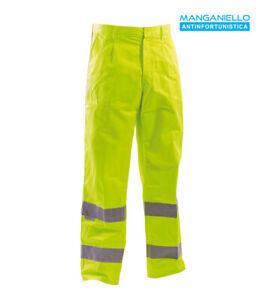 Pantalone da lavoro multitasche stradale alta visibilità giallo estivo
