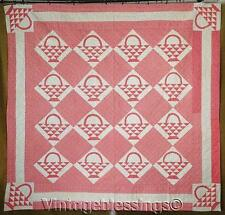 Beautifully Classic c1880 Antique Double Pink Basket Quilt Never Used 77x80""