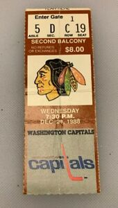 Chicago Blackhawks V Washington Capitals Ticket Stub Chicago Stadium 12/21/88 88