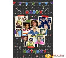 PERSONALIZED HAPPY BIRTHDAY Picture Photo GREETING CARD Gift Grey Collage