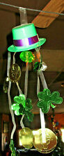 St. Patrick's Day 10 Plastic Hats Foil Coins & Shamrocks Hanging Garland Decor