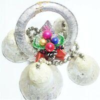 "Vintage Flocked Christmas Paper Mache Mercury Glass Beads Garland Bells 1940 24"""