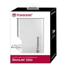 Transcend Leergehäuse SSD HDD Festplatte Gehäuse Storejet 2,5Zoll USB 3.1 silber
