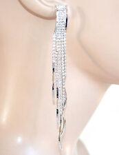 ORECCHINI ARGENTO donna strass fili lunghi cristalli pendenti eleganti sposa F95