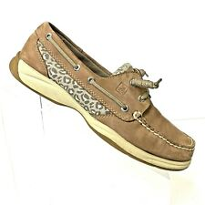Sperry Top Sider Womens Sz 8.5M Leopard Boat Shoes 9772880 Barrel Knot Animal