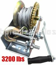 3200lbs Dual Gear Hand Winch Hand Crank Manual Boat Atv Rv Trailer 32ft Cable