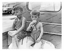 1940s era vintage photo-Little boys eating ice cream-old truck-coveralls-8x10 in