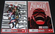 Uncanny Avengers 1 & 2 (2012-, Marvel) 1st Print lot