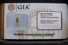 GIA Cert 0.49ct MARQUISE cut diamond NATURAL FANCY DEEP BROWNISH ORANGY YELLOW