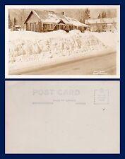 CANADA ONTARIO NOVAR THE LOG CABIN IN SNOW REAL PHOTO CIRCA 1948