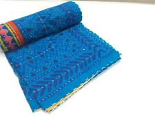 Vintage Indian Blue Bagru Handmade Kantha Quilt Queen Bedspread Throw Decor