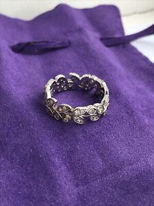 Vintage 925 Sterling Silver Ring Cubic Zirconia Diamante Leaf Design W9